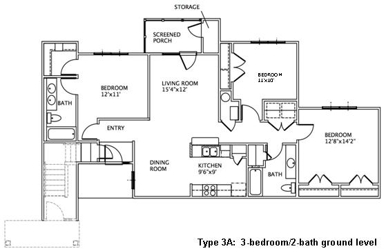 3 bedroom floor plans may river village Ground floor 3 bedroom plans